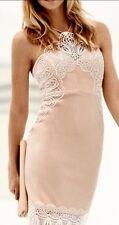 Lipsy 10 Nude Lingerie Cami Lace Midi Bodycon Dress BNWT