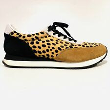 Loeffler Randall Leopard Print Fashion Sneakers Lace Up Black Tan Women SZ 10