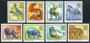Germany DDR/GDR 1630-1637, MNH. Zoo: Macaws,Orangutan,Chamois,Tiger,Zebra, 1975