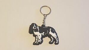 Black and White Springer Spaniel Dog Keyring Xmas Gift/Present Key Ring
