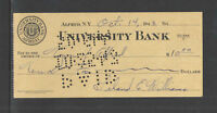 1943 UNIVERSITY BANK ALFRED NY ANTIQUE YELLOW WW II BANK CHECK