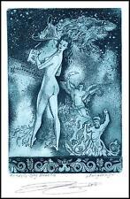 Naboka Oleg 2016 Exlibris C3 Mythology Polyhymnia Erotic Nude Woman Music n14