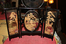Stunning Chinese Miniature Room Divider Panels-Detailed Wood Carvings-3 Panel