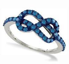 10K White Gold Blue Diamond Infinity Ring Band .73ct Diamonds Everywhere