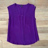 Eileen Fisher Purple 100% Silk Sleeveless Top Women's Blouse Size Small