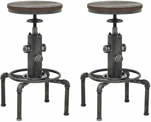 Industrial Solid Wood Barstools Fire Hydrant Design Cafe Silver Bar Stool (2)