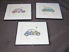 t16 Set of 3 Anne Ormsby Volkswagen VW Beatle Art Signed Framed Matted Art Print