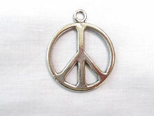 NEW LARGE HAND CAST PEWTER PEACE SIGN SYMBOL HIPPIE PENDANT ADJ CORD NECKLACE