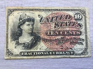 1863 U.S. 10cent Fractional Bank Note, 4th Issue, Circulated