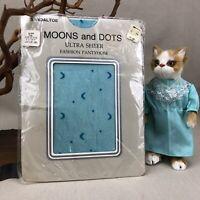 Blue Moons and Dots Vintage 1980s KMart Fashion Designer Panty Hose Size B