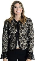 Joseph Ribkoff Sz 6 Black Quilted Lace Overlay Satin Lined Blazer Jacket s Women