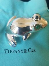 Aventurine Eyes Rare RibbiT 77gms Tiffany Frog Solid Sterling Silver Paperweight