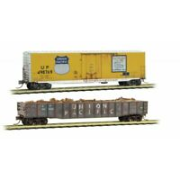 Union Pacific 2-Car Set Gondola & Boxcar Weathered MTL #993 05 480 N Scale