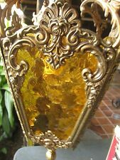 VINTAGE amber GLASS CHANDELIER LANTERN HALL porch HANGING LAMP