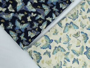 Japanese Style Bronze Butterfly Printed Cotton Fabric 150cm Wide By Meter