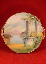 """Antique Pickard 11¼"""" ITALIAN GARDEN Cake Plate - Artist Signed GASPAR ca.1915"""