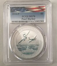 2016 Perth Mint Tuvalu Pearl Harbor Silver 1oz. PCGS MS70 Certified! Awesome!