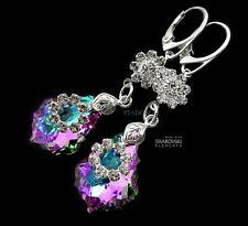 EARRINGS MADE WITH SWAROVSKI CRYSTALS *VITRAIL ORCHIDEA* STERLING SILVER