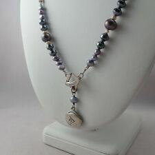 "Silpada Sterling Silver Genuine Pearl Hematite Purple Bead 34"" Toggle Pendant"
