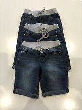 EUC Justice Girls Lot of 3 Denim Jean Shorts Long Length Elastic Size 10 Slim
