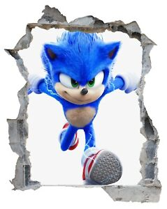 Sonic wall art decal sticker Kids room playroom 3d decor new removable 3 sizes