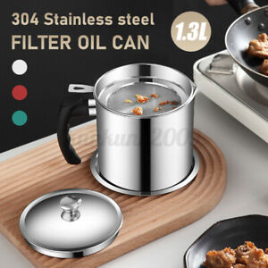 1.3L Stainless Steel Leak-proof Oil Dripping Jug Water Drinking Filter Cup