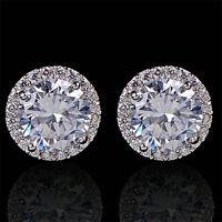 Women Sanwood Nice Crystal Zircon Inlaid Ear Stud Platinum Plated Earrings New H