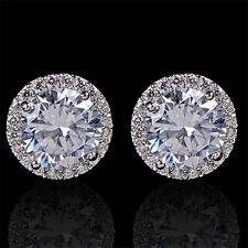 Elegant Sanwood Crystal Zircon Women's Ear Stud Platinum Plated Earrings Jewelry