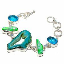 """Window Agate Druzy, Biwa Pearl Silver Fashion Jewelry Bracelet 7-8"""" SB5258"""