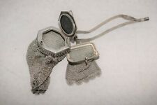 RARE Vintage Whiting & Davis Mesh Change Purse Dual Items Blue Saphire   3.3h