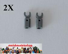 2X Lego® 11090 Stange Halter mit Clip, Bar Holder, neues Dunkelgrau, Darkgray