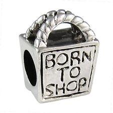 5 Pcs Born To Shop Handbag Silver European Spacer Charm Beads For Bracelet L#667