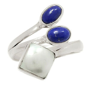 Fresh Water Pearl & Lapis 925 Sterling Silver Ring Jewelry s.7.5 BR25868
