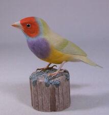 Gouldian Finch Green Back Original Bird Carving/Birdhug