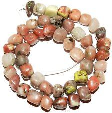 "NG2452f Pink Lepidolite 8mm - 10mm Polished Pebble Nugget Gemstone Beads 16"""