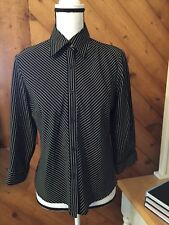 New APPARENZA Black White Stripe Button TOP Shirt Stretch  3/4 sleeve size S