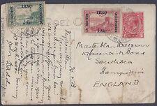 IRAQ UK 1923 MIXED FRANKING KING GEORGE V & IRAQ ISSUES TYING SG 16 17 ON POST C