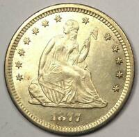 "1877 Seated Liberty Quarter 25C - Excellent Luster - ""Love Coin"" - Rare!"
