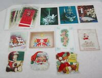 12  Vintage Greeting Card Christmas 1950-70's Flocked Teddy Bear Candles Tree's