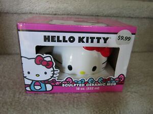 Hello Kitty Sculpted Ceramic Mug / Coffee Cup - New In Box - 18 oz - by Sanrio