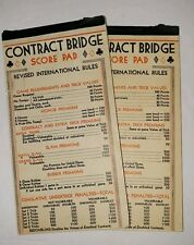 CONTRACT BRIDGE SCORE PADS - REVISED INTERNATIONAL RULES two vintage booklets