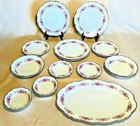 Lovely Grace China Dresden Rose Gold Trim Germany 4 settings & Platter 21 Pieces