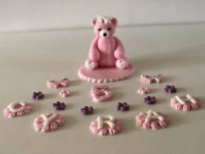 Pink teddy bear personalised christening birthday cake topper handmade edible