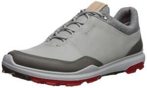 ECCO Men's Biom Hybrid 3 Golf Shoe 5-5.5, Concrete/Scarlet Yak Leather