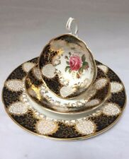 Stunning Paragon England Heavy Gold on Black Pink Rose Cup and Saucer Trio Set