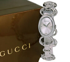 NEW Gucci 118 Tornabuoni Oval Polished Steel Ladies Diamond Watch YA118505