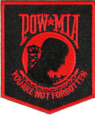 POW / MIA Red & Black Military Veteran Embroidered Small Patch Motorcycle Biker