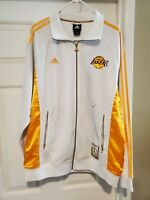 🔥LA Lakers Adidas Track Jacket White 2009 Championship Size M Kobe Bryant 🔥