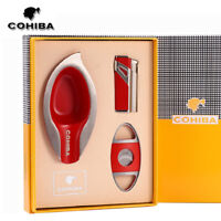 COHIBA Cigar Gift Set Cigar Lighter & Ashtray & Stainless Steel Cigar Cutter Set