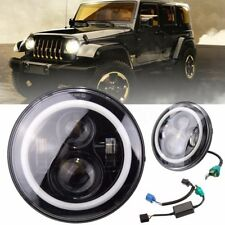 7 Inch Round LED Headlights with Halo Angle Eyes For Jeep Wrangler JK LJ 97-2017